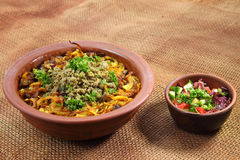 Mzhaddara dish. Traditional Middle Eastern dish cooked with spices. Stock photo Royalty Free Stock Photo