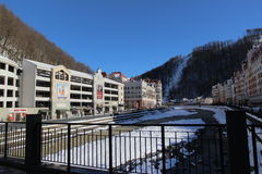 The Mzymta river and hotels  in the village of Rosa Khutor. Royalty Free Stock Photography