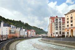 Mzymta river in mountain resort Royalty Free Stock Photos