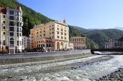 Mzymta River in Rosa Khutor Alpine Resort. Krasnaya Polyana Royalty Free Stock Image