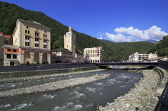 Mzymta River in Rosa Khutor Alpine Resort. Royalty Free Stock Photos