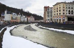 Mzymta River in Rosa Khutor Alpine Resort Stock Photo