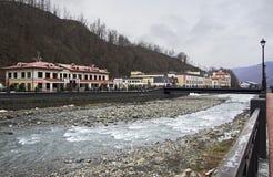 Mzymta River in Rosa Khutor Alpine Resort Stock Photos