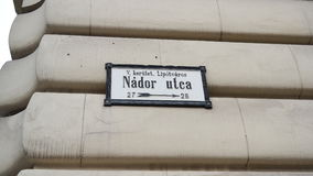 Nádor Utca. Street sign of Nádor Utca in Budapest, Hungary Stock Photography