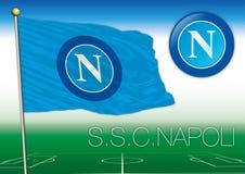 NÁPOLES, ITALIA, AÑO 2017 - campeonato del fútbol de Serie A, bandera 2017 del equipo de Napoli