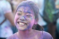 Nápoles, Italia, el 12 de septiembre de 2015: Festival de Holi de colores Un par Foto de archivo