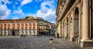 Nápoles Piazza del Plebiscito Imagenes de archivo