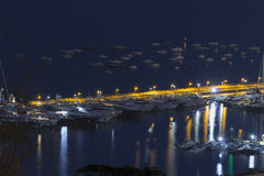 Nápoles Porto na noite Fotografia de Stock