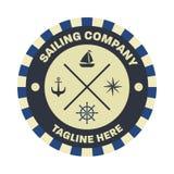 Náutico, plantilla del diseño del logotipo del marinero fotos de archivo