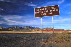 Não alimente a cavalos o sinal Foto de Stock