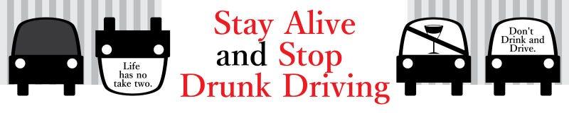 Não beba e não conduza a bandeira do sinal ilustração stock