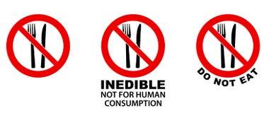 Não coma, incomível, sinal Forquilha e faca no círculo cruzado vermelho ilustração stock