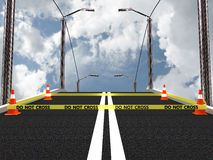 Não cruze a linha de polícia com cone da estrada. imagem 3D Imagens de Stock Royalty Free