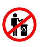 Não desarrume o sinal, proibição da desordem, proibição em dispor a bateria ilustração do vetor