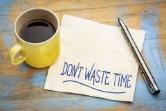 Não desperdice o tempo - conceito do guardanapo Foto de Stock Royalty Free