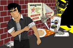 Não diga nenhuma rejeição parada fumando a ilustração do cigarro ilustração do vetor