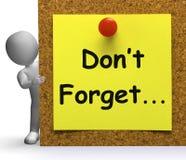 Não esqueça que os meios da nota importantes recorda ou esquecendo Imagens de Stock Royalty Free