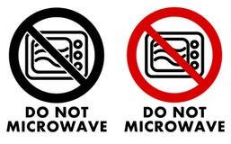 Não faz o símbolo da micro-ondas Ícone do forno no círculo cruzado com texto u Fotos de Stock