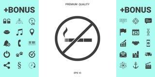 Não fumadores, ícone da proibição de fumar Cigarro - proibindo o sinal ilustração royalty free