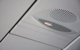 Não fumadores assine dentro um avião Fotografia de Stock Royalty Free