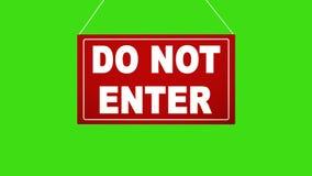 NÃO INCORPORE o sinal Suspensão vermelha da placa da animação Tela verde fechada do canal alfa ilustração do vetor