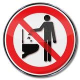 Não jogue nenhuns objetos para baixo no toalete Imagens de Stock Royalty Free