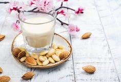 Não leite da amêndoa do vegetariano da leiteria em um vidro alto imagem de stock