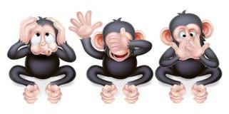 Não ouça nenhum mal não ver nenhum mal não falar nenhum macaco do mal ilustração royalty free