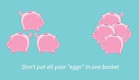 Não põe seu ovo em uma cesta Imagem de Stock