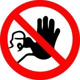Não passe incorporam a parada Sinal vermelho do símbolo de advertência da proibição no fundo branco Foto de Stock