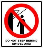 Não pise atrás do sinal do braço do giro Nenhuns povos sob a carga levantada Ilustração lisa do vetor isolada no branco aviso Fotografia de Stock