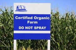 NÃO PULVERIZE o sinal orgânico certificado Fotografia de Stock