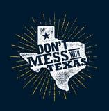 Não suje com Texas Quote Molde criativo inspirador do cartaz da motivação Estados Pride Vetora Typography Banner ilustração stock