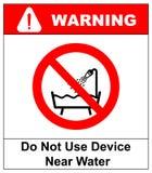 Não use este dispositivo em uma banheira, para regar, ou no sinal água-enchido do reservatório Ilustração do vetor Fotografia de Stock