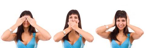 Não veja o, nada não dizer e ouvir nada. Foto de Stock
