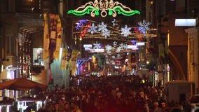 NÄ°GHT Cristmas, Istanbul stad, December 2016, Turkiet arkivfilmer