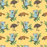 Näbbdjur struts, koala stock illustrationer
