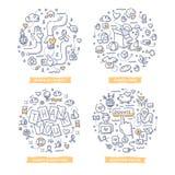Nächstenliebe-u. Spenden-Gekritzel-Illustrationen lizenzfreie abbildung