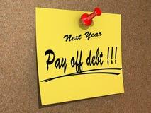 Nächstes Jahr zahlen Auflösung weg Schuld. Stockbilder