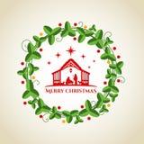 Nächtliche Weihnachtslandschaft: Mary und Joseph in einer Krippe mit Baby Jesus im Krippen- und Kreiskranzgraphikvektor entwerfen Stockfoto