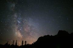 Nächtlicher Himmel mit milkyway Stockbilder