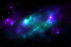 Nächtlicher Himmel mit Sternen und Nebelfleck Lizenzfreie Stockbilder