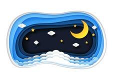Nächtlicher Himmel mit Wolken, Sternen und Mondpapierkunstart Stockfotos