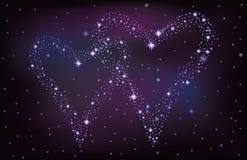 Nächtlicher Himmel mit zwei Sternherzen Stockbilder