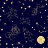Nächtlicher Himmel Nahtloses Vektormuster mit Konstellationen, Mond, ufos schnellt hoch und spielt die Hauptrolle Stockfotos