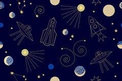 Nächtlicher Himmel Nahtloses Vektormuster mit Konstellationen, Raketen, Raumschiffe, SP Stockbilder