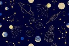 Nächtlicher Himmel Nahtloses Vektormuster mit Konstellationen, sichelförmiger Mond, Raketen, Lizenzfreies Stockbild