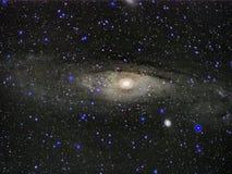 Nächtlicher Himmel spielt das Beobachten Andromedakonstellation Galaxie M31 die Hauptrolle stockfotos