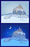 Nächtlicher Hintergrund mit Schlossschattenbild Skizze, Hand gezeichnet Lizenzfreie Stockbilder