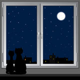 Nächtliches Fenster und Katzen. Vektor. Lizenzfreie Stockfotografie